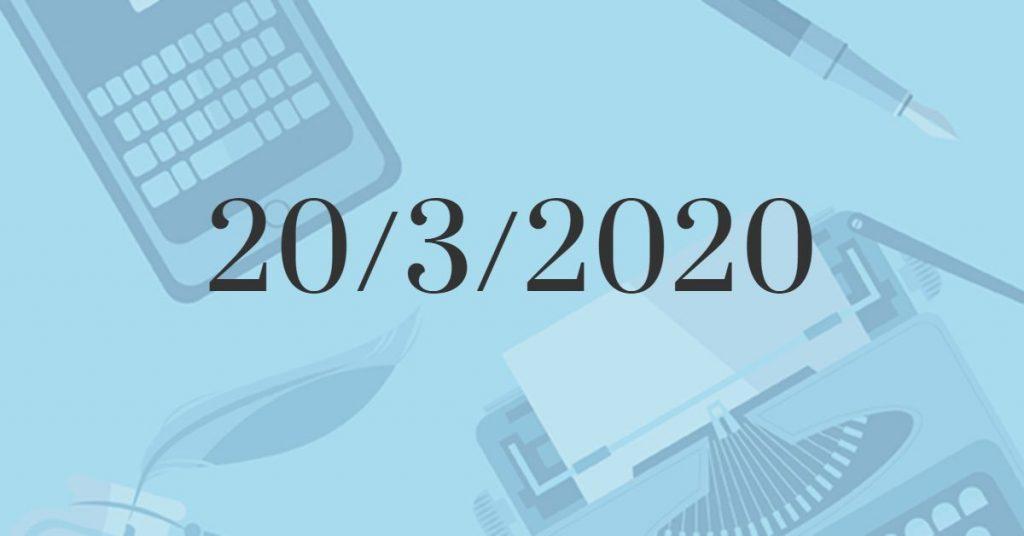 Il Buongiorno di PdM: venerdì 20 marzo 2020