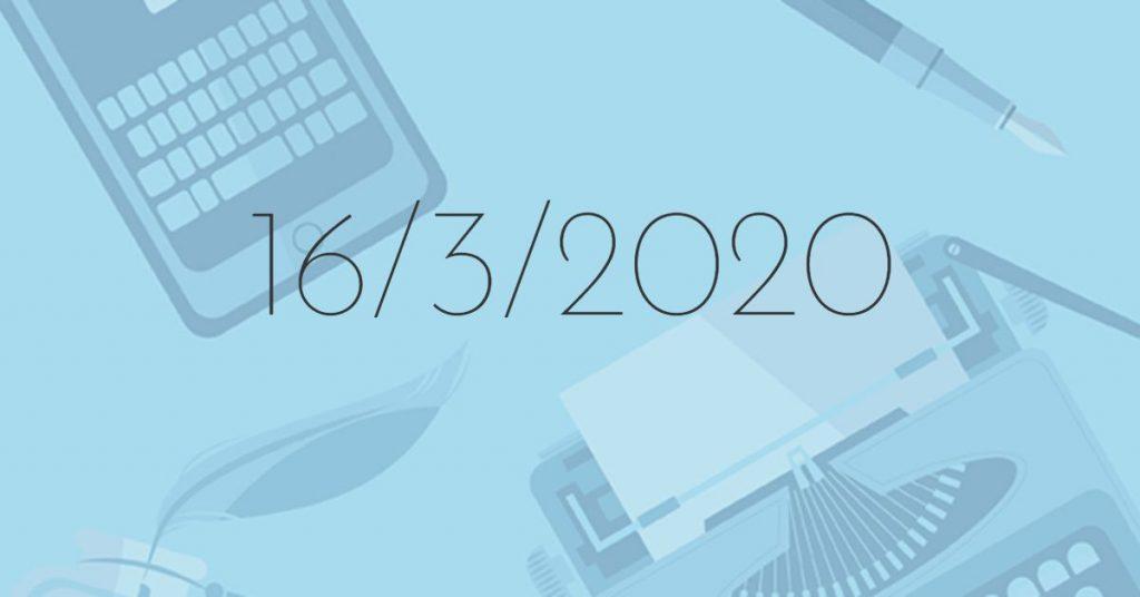 Il Buongiorno di PdM: lunedì 16 marzo 2020